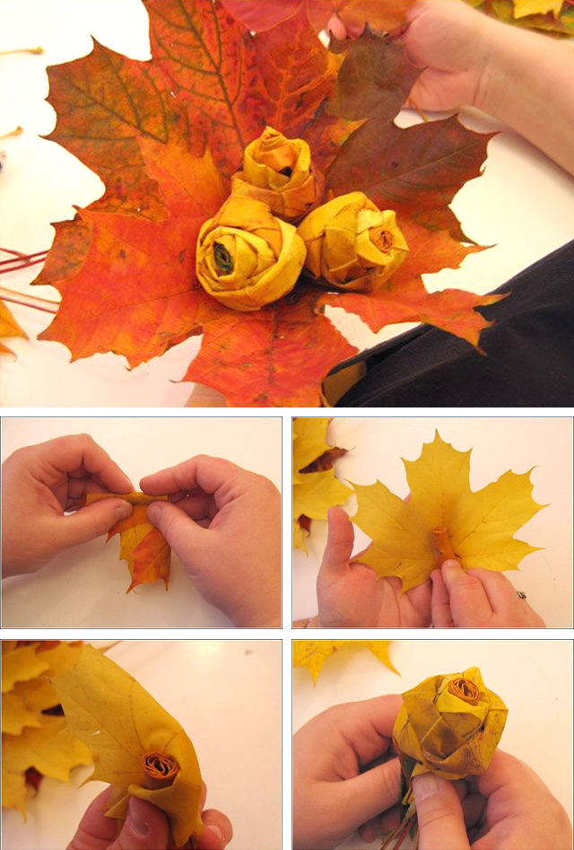 Необычные поделки из листьев своими руками