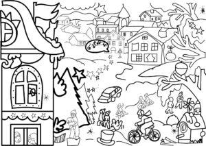 Зимові розмальовки для дітей  466ed66cd0994