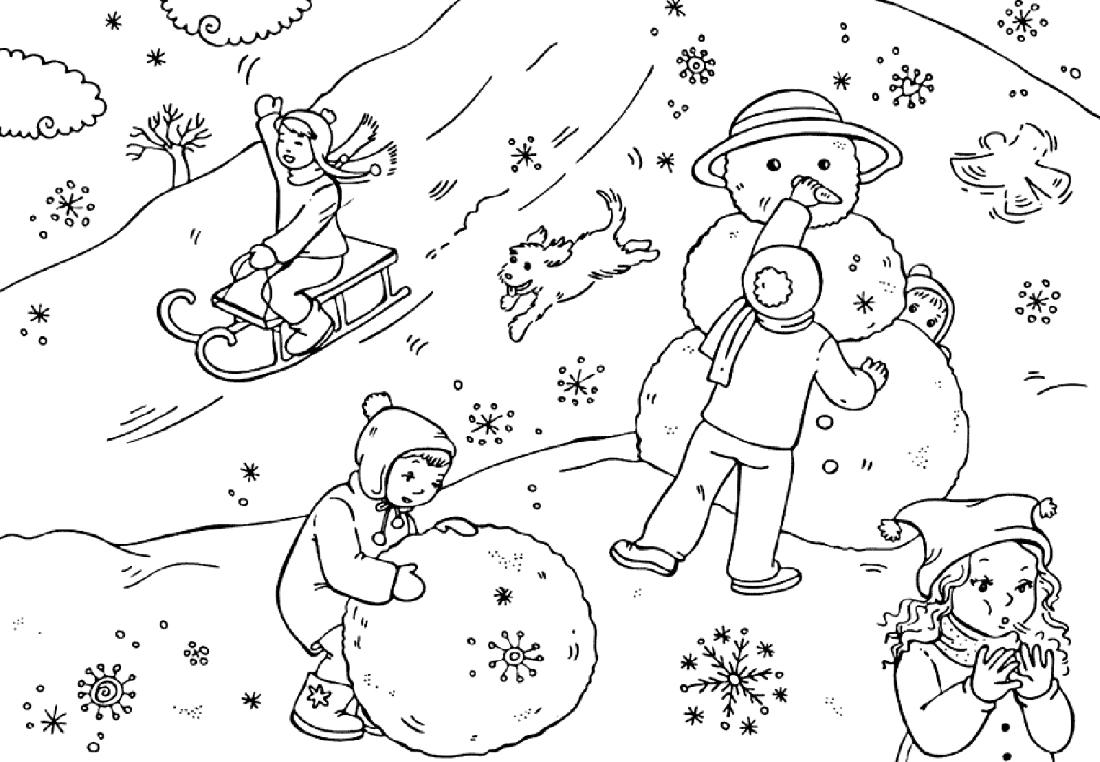 Раскраски зимние игры 93